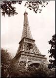 Jonathan Larsen - Eiffel Tower in Spring Reprodukce aplikovaná na dřevěnou desku