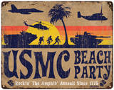 USMC &#39;Beach Party&#39; Steel Sign Wall Sign