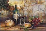 Het kasteel, stilleven met wijnfles Kunstdruk geperst op hout van Marilyn Hageman