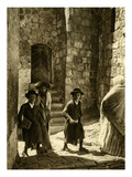 Orthodoxo Hassidic Jews on their Way to Synagogue, Jerusalem Giclee Print