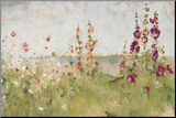 Hollyhocks by the Sea Mounted Print by Cheri Blum