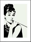 Audrey Hepburn, met cigarillo Kunstdruk geperst op hout