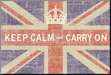 Ben James - Keep Calm and Carry On (Union Jack) Reprodukce aplikovaná na dřevěnou desku