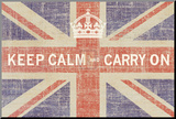Keep Calm and Carry On (Union Jack) Mounted Print by Ben James
