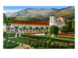 California: Santa Barbara Mission and Grounds Giclee Print