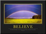 Geloof, poster met Engelse tekst: Believe Kunstdruk geperst op hout