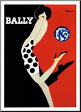 Schoenenreclame, vrouw met bal, Bally Kunstdruk geperst op hout van Bernard Villemot