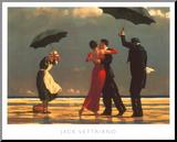 Jack Vettriano - The Singing Butler (Zpívající lokaj), Vettriano Reprodukce aplikovaná na dřevěnou desku