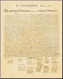 Deklarace nezávislosti (Declaration of Independence) Reprodukce aplikovaná na dřevěnou desku