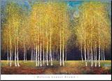 Gouden bomengroep Kunstdruk geperst op hout van Melissa Graves-Brown