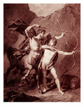 The Young Achilles Practices Archery with Chiron Giclee Print