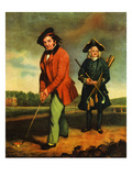 A Gentleman Golfing with His Caddy Giclee Print