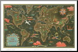 Air France World Map, Flight Routes, c.1948 Mounted Print by Lucien Boucher