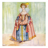 Woman&#39;s Costume in Reign of James I (1603-1625) Giclee Print by Dion Clayton Calthrop