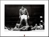 Bokser Muhammad Ali tegen Sonny Liston Kunstdruk geperst op hout