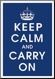 Keep Calm (navy) Mounted Print