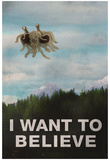 Flying Spaghetti Monster - I Want To Believe Poster