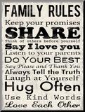 Familienregeln, Englisch Druck aufgezogen auf Holzplatte von Louise Carey