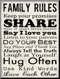 Family Rules Mounted Print by Louise Carey