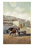 Old Caretta (Cart) pulled by two oxen Giclee Print