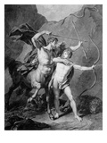 The Young Achilles Practises Archery with Chiron Giclee Print