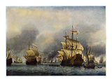 Naval Battle of June 1666 Giclee Print by Willem Van De Velde The Younger