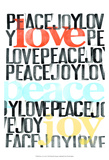 Peace, Love, Joy I Posters van Deborah Velasquez