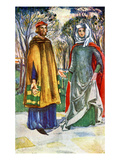 Couple&#39;s Costume in Reign of Edward I (1272-1307) Giclee Print by Dion Clayton Calthrop
