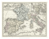 Mitchell's Map of France, Spain & Italy Prints