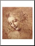 Vrouwenhoofd, ca 1508 Kunstdruk geperst op hout van  Leonardo da Vinci