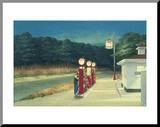 Pompstation, ca.1940 Kunstdruk geperst op hout van Edward Hopper