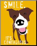 Glimlach, poster van hond met Engelse tekst: Smile, it's contagious Kunstdruk geperst op hout van Ginger Oliphant