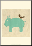 Best Friends - Hippo Mounted Print by Chariklia Zarris