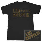 Led Zeppelin - Square Gold Logo Camisetas