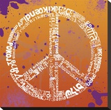 Peace (Different Languages) on orange Stretched Canvas Print