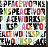 Peace Works (white) Stretched Canvas Print by Erin Clark