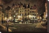 Paris Street Night Stretched Canvas Print by Dawne Polis
