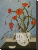 Poppies on Pastry Cart Stretched Canvas Print by Karen Tusinski