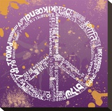 Peace (Different Languages) on purple Stretched Canvas Print