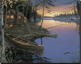 Canoe at the Cabin Stretched Canvas Print by Ervin Molnar