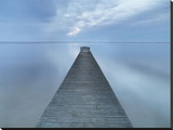 Long Pier Stretched Canvas Print by Derek Jecxz