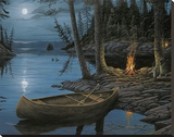 Camp Fire Canoe Stretched Canvas Print by Ervin Molnar
