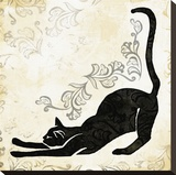 Stretching Burlap Cat Stretched Canvas Print by Alan Hopfensperger