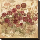 Floral Frenzy Burgundy I Stretched Canvas Print by Alan Hopfensperger