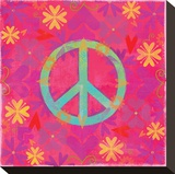 Peace Sign Floral Hearts II Stretched Canvas Print by Alan Hopfensperger