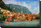 Lake Como Village, Italy Stretched Canvas Print by Chris Vest
