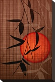 Bamboo and Red Sun II Stretched Canvas Print by Christine Zalewski
