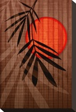Bamboo and Red Sun I Stretched Canvas Print by Christine Zalewski