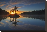 Georgian Bay Sunrise Stretched Canvas Print by Mike Grandmaison