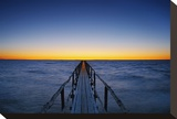 Pier on Lake Winnipeg Stretched Canvas Print by Mike Grandmaison